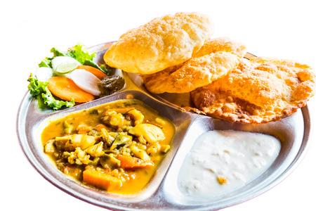 nepali: Nepali Puri meal set with dal and yogurt
