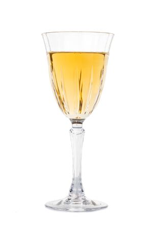 sauvignon blanc: White wine in crystal glass isolated in white Stock Photo