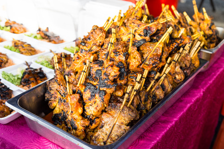 Grilled chicken or popularly known as ayam percik at a street bazaar in preparation for iftar during the fasting month of Ramadan