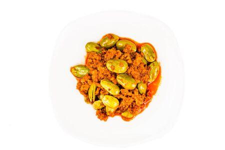 sambal: Sambal tumis petai, a popular traditional dish in Malaysia and Indonesia Stock Photo