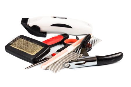 veterinario: Perro herramientas y accesorios de aseo establecido Foto de archivo