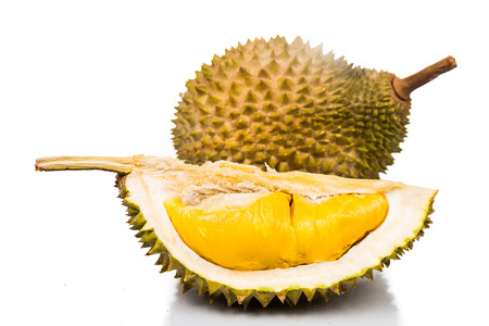 Freshly harvested durian fruit with delicious golden yellow soft flesh Stockfoto