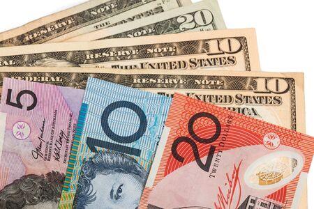 australian dollar notes: Closeup of Australian Dollar and American US Dollar