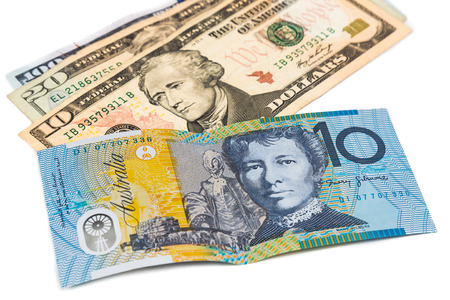 us money: Close up of Australian Dollar currency note against US Dollar. Stock Photo