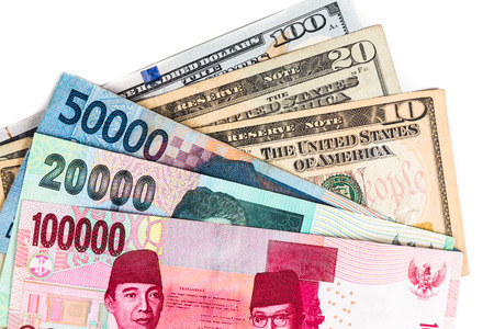 usd: Close up of Indonesia Rupiah currency against USD. Stock Photo