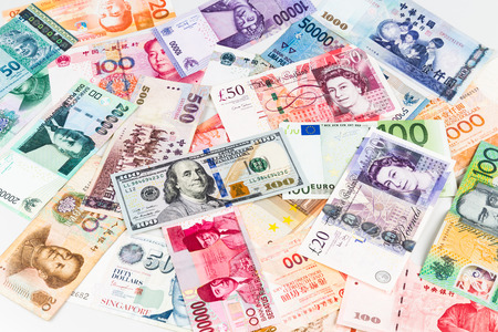 currencies: Pile of major currency notes. Stock Photo