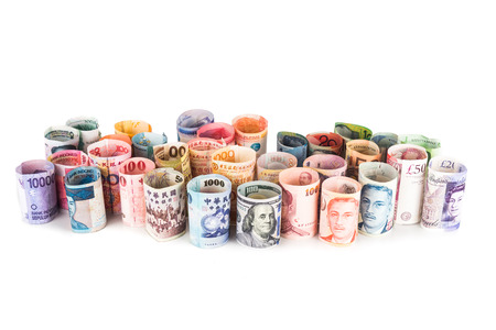 us paper currency: Pile of rolled-up currency notes.