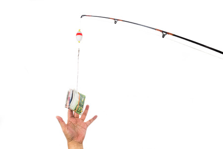 lure: Concept of hand reaching for money casted as bait on fishing line.