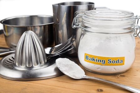 baking soda effective polish of metal kitchenwares stock photo 44084218 - Kitchen Wares