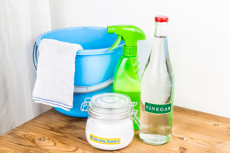 product: Baking soda with vinegar, natural mix for effective house cleaning