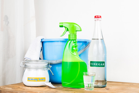 cleaning background: Baking soda with vinegar, natural mix for effective house cleaning