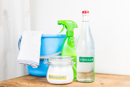 cleaning kitchen: Baking soda with vinegar, natural mix for effective house cleaning