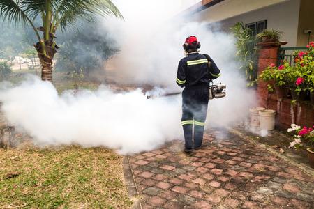 ネッタイシマカ蚊、デング ウイルスのキャリアを殺すために殺虫剤で住宅地を曇りワーカー 報道画像