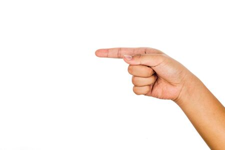 hand pointing: Hand pointing direction against white background