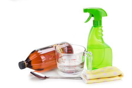 cleaning background: Apple cider vinegar, effective natural solution for house cleaning, personal and pets care Stock Photo