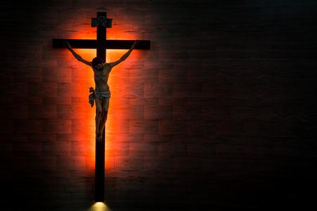 Catholic Christian Crucifix in silhouette flushed left