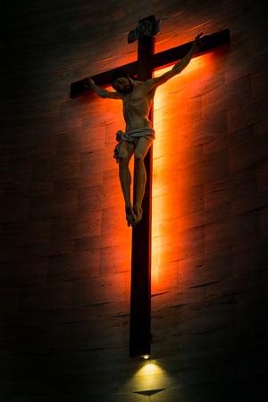 christian faith: Crucifix of the Catholic Christian faith in silhouette