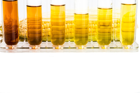 fructose: Corn generated ethanol biofuel with test tubes on white background