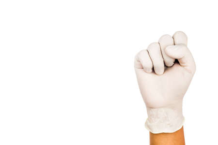 numero diez: Mano en guante de látex quirúrgico gesto número Diez.