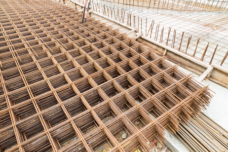 construction mesh: Stack of concrete metal mesh reinforcement at construction site ready for use