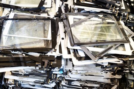 shattered: Stack of damaged and shattered smart tablet pad computer screen