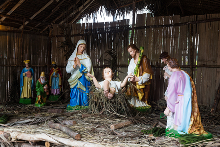 crib jesus: Christmas decorative creche with Holy family of Joseph, Mary, baby Jesus Christ and the wise men