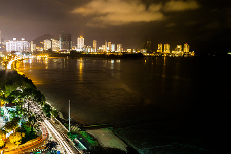 destination scenic: Scenic night view of Gurney Drive, Penang popular tourism destination.