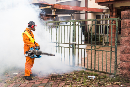 aedes: Worker fogging residential area with insecticides to kill aedes mosquito breeding ground, carrier of dengue virus