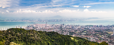 penang: Aerial panorama cityscape of Georgetown, the capital city of Penang state Malaysia popular tourism destination Stock Photo