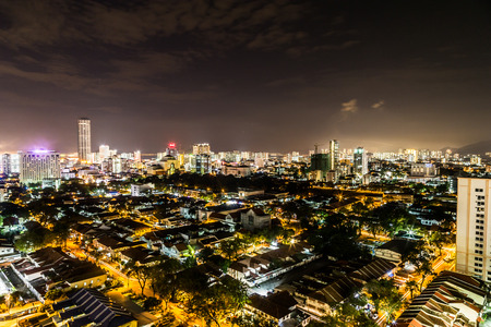 penang: Night cityscape view of the scenic Georgetown Penang Malaysia, popular tourism destination Stock Photo