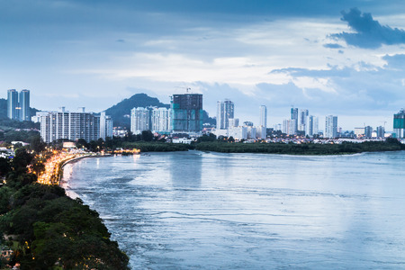 georgetown: Scenic view of Gurney Drive, Penang popular tourism destination during dusk hour Stock Photo