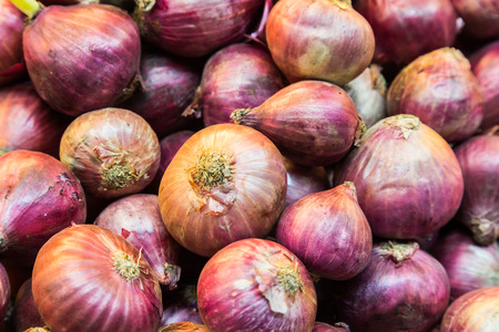 cebolla roja: Heaps of fresh red onion bulb, an important spice in Asian cooking Foto de archivo