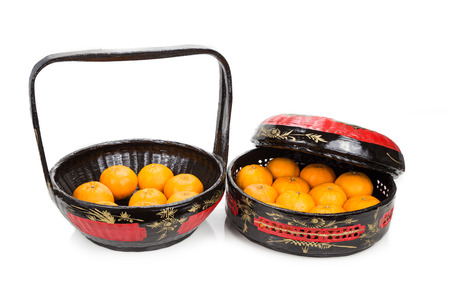 tiered: Traditional tiered Bakul Siah Wedding Basket used by Peranakan Chinese in parts of Asia Stock Photo