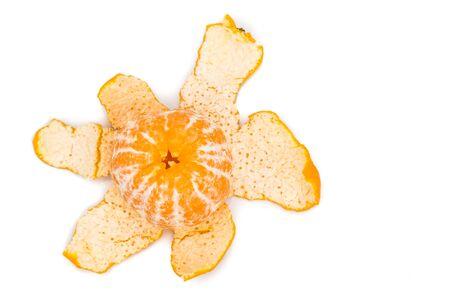 mandarin oranges: Peeled organic sweet and juicy mandarin oranges on white background Stock Photo