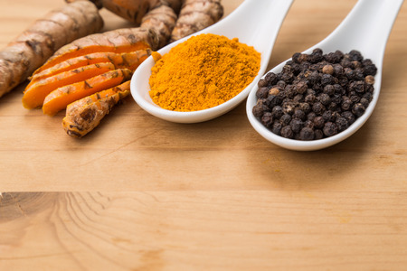 enhances: Turmeric roots and black pepper combination enhances bioavailability of curcumin absorption in body for health benefits