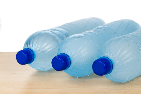 deemed: Freezing water in PET plastic bottle provide refreshing drinks but deemed an unhealthy practice Stock Photo