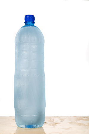Freezing water in PET plastic bottle provide refreshing drinks but deemed an unhealthy practice Archivio Fotografico