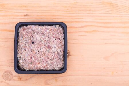 Frozen meat: Convenient nutritious packaged delicious minced raw meat dog food in tub