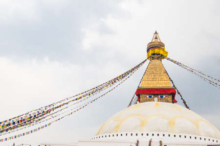 stupa one: Closeup on Boudhanath Stupa, one of the largest spherical stupas in Nepal and is a popular tourist attraction