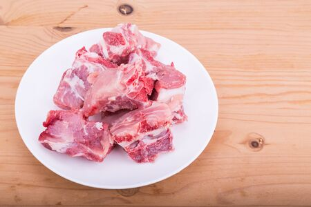 Raw fresh pork bones, a common ingredients in nutritious Chinese double boil soup