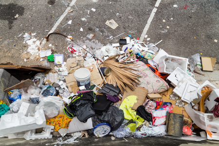 breeding ground: Outdoor rubbish dump potentially store stagnant water and is breeding ground for mosquito Stock Photo