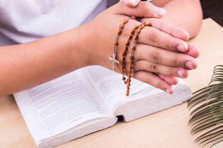 reciting: Closeup of hands reciting prayers using Catholic rosary with crucifix and bible