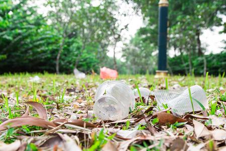 biodegradable: Environmental unfriendly non biodegradable pvc litter in public park present ecology issue
