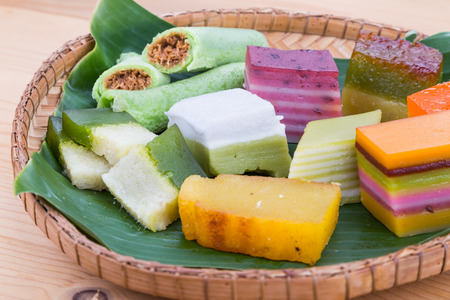 Closeup on Malaysia popular assorted sweet dessert or simply known as kueh or kuih