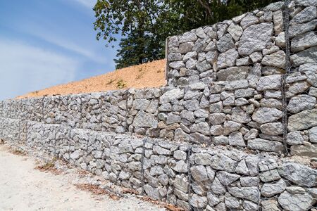retention: Slope and earth retention wall management with rocks and wire mesh cage system in tropical hilly terrain