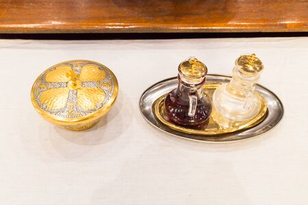chalice: Catholics bread and wine in chalice on altar in Church