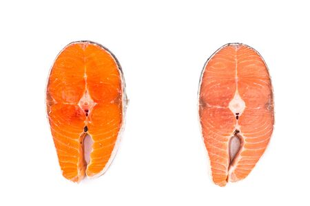 intensity: Comparison between wild and farmed salmon blocks, where wild salmon has lesser fats and higher color intensity.