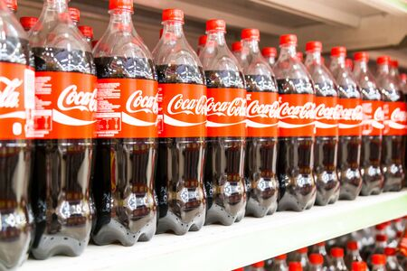 aisle: KUALA LUMPUR, MALAYSIA, April 16, 2016: Coca Cola maintain its leadership position in the Malaysia cola soft-drink market, according to latest retail  audit report. Editorial