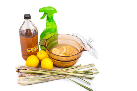repel: Apple cider vinegar, lemon and lemongrass home remedy, safe and effective formula to repel mosquito, fleas and bugs Stock Photo