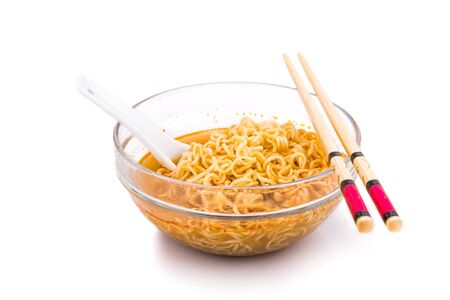 glutamate: Bowl of convenient but unhealthy instant noodle with sodium flavored soup on white background